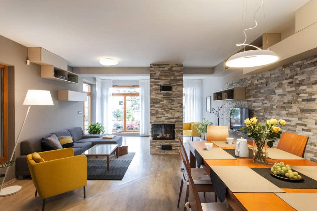 Obývací pokoj s jídelním koutem - inspirace od studia KP INTERIORS