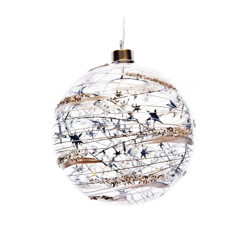 bksdecor - Koule svítící s bílými vzory a stříbrnými hvězdami