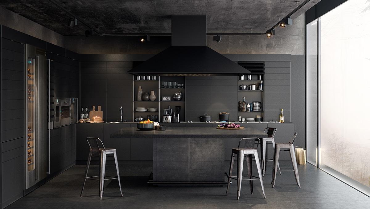 Realizace kuchyně v tmavých barvách - zdroj
