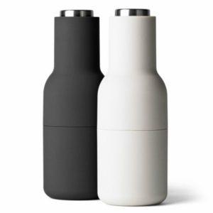 Designové mlýnky na sůl a pepř Bottle od Menu, set 2ks, ash-carbon, steel lid