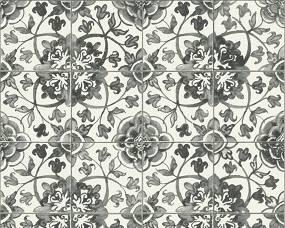 Moderní vinylová tapeta imitace kachliček, černé květy