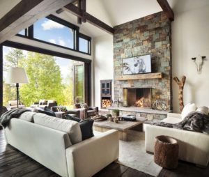 Moderní rustikální obývací pokoj - zdroj