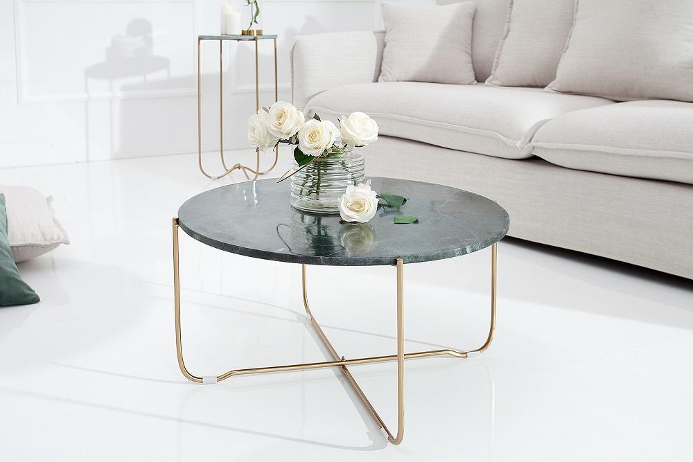Konferenčný stolík NOBL - zelená , zlatá