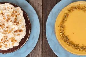 Mrkvový koláč s mascarpone, vlašskými ořechy a makový cheesecake s lemon curd