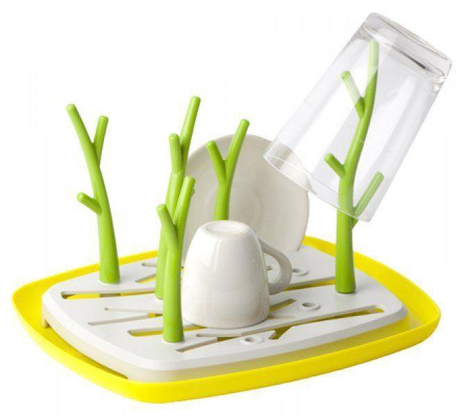 Designový odkapávač na nádobí- stromy, bílá / zelená, 24,5x30 cm