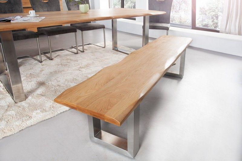 Deflee stolová lavice GENESIS 180-CM masiv dub LVC36408masivní dubové dřevo olejované, ocelová základna 180 cm x 50 cm x 40 cm